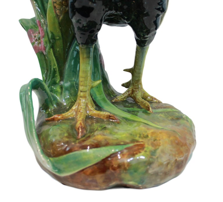 Very Large Majolica Rooster Vase by Jerome Massier, French, circa 1880 9