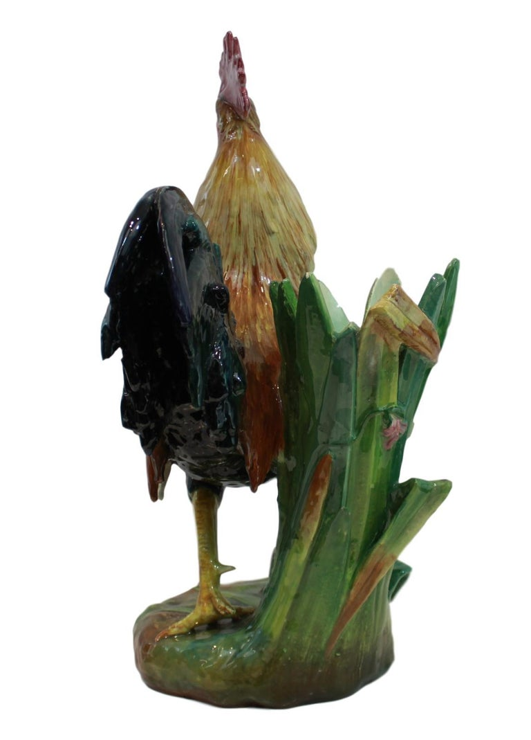 Very Large Majolica Rooster Vase by Jerome Massier, French, circa 1880 1