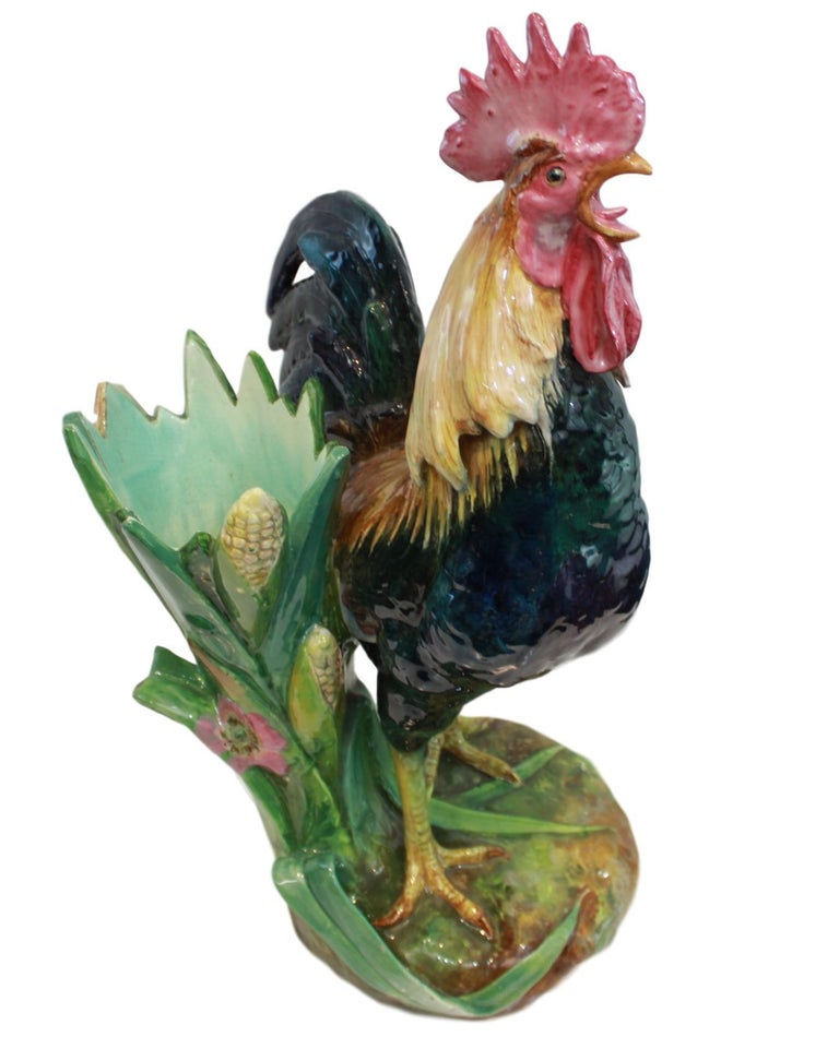 Very Large Majolica Rooster Vase by Jerome Massier, French, circa 1880 3