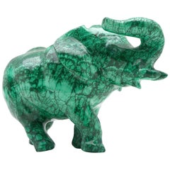 Very Large Malachite Elephant Carving