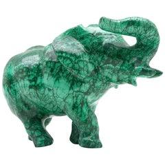 Very Large Malachite Elephant Carving