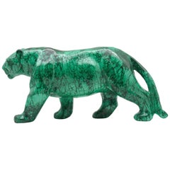 Very Large Malachite Panther Carving