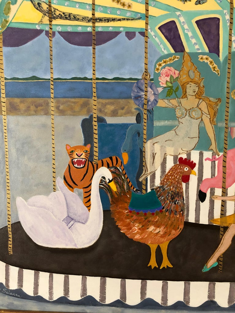 American Very Large Meticulous and Magical Carousel Painting and Collage For Sale