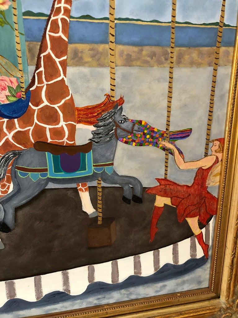 Very Large Meticulous and Magical Carousel Painting and Collage In Excellent Condition For Sale In Hopewell, NJ