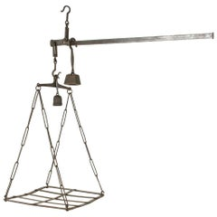 Very Large Mid-19th Century French Iron Cheese Scale or Pot Rack with Weights