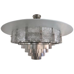 Very Large Mid-Century Modern 16-Sided Glass and Nickel Chandelier