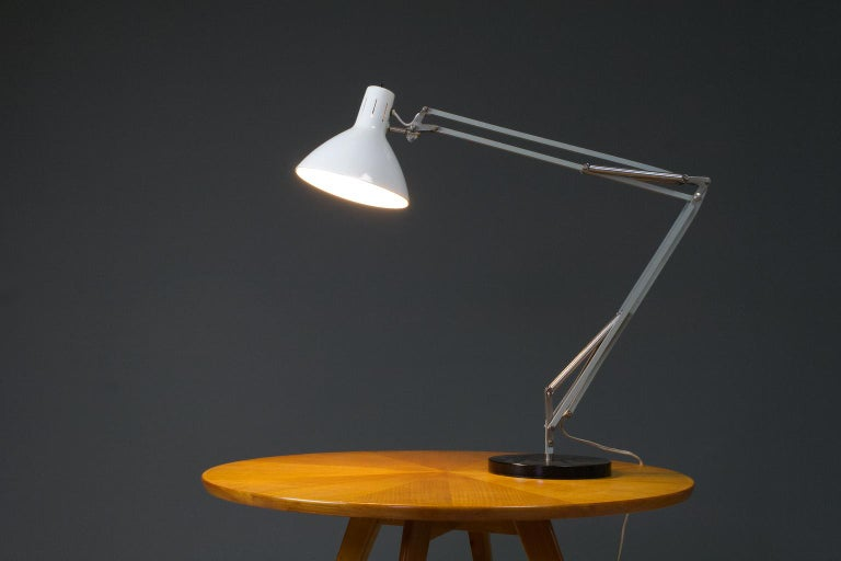 Dutch Very Large Mid-Century Modern Desk Light or Table Lamp in White by Hala 1967 For Sale