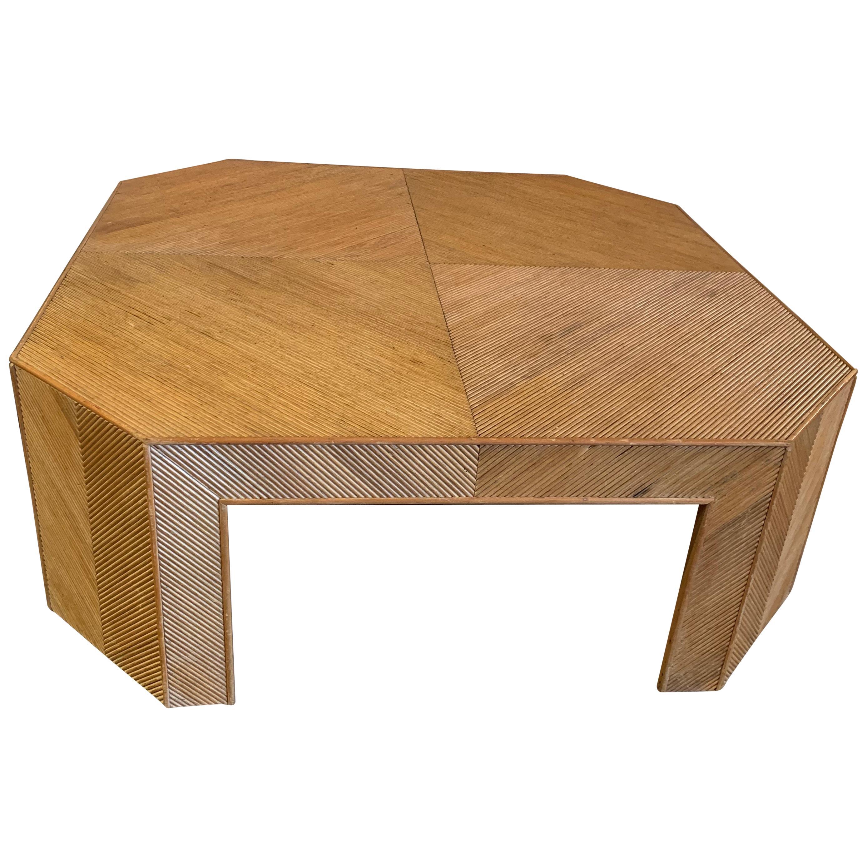 Very Large Mid Century Modern Geometric Bamboo Rattan Coffee Table