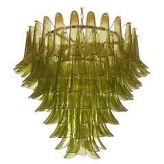 Very Large Mid-Century Modern Green Murano Glass Chandelier, Mazzega Italy 1970s