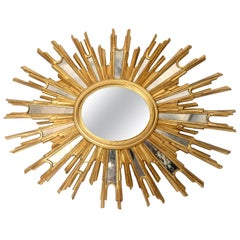 Very Large Midcentury Sunburst Mirror, 1960s