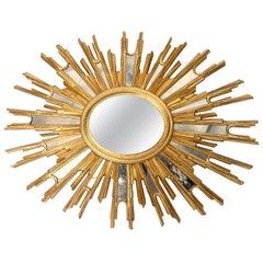 Very Large Midcentury Sunburst Mirror, 1960s