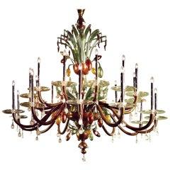 Very Large Multi-Color Hand Blown Murano / Venetian Glass Chandelier