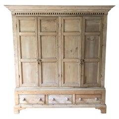 Very Large Natural Irish Pine Custom Double Cupboard Cabinet