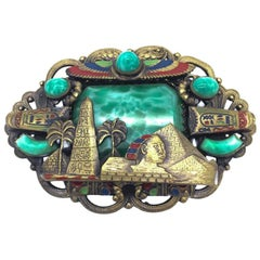 Very Large Neiger Brothers Gablonz Vintage Brooch Egyptian Revival 1920s