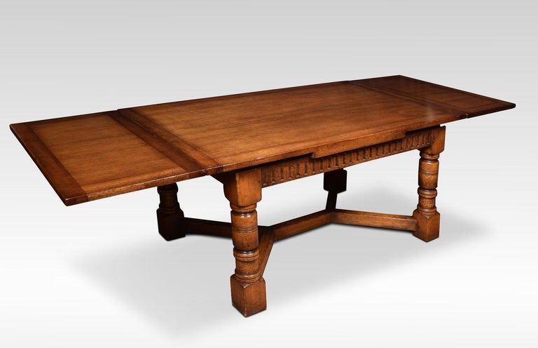 British Very Large Oak Draw Leaf Refectory Table