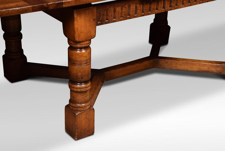 20th Century Very Large Oak Draw Leaf Refectory Table