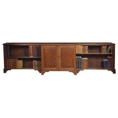 Very Large Oak Dwarf Breakfront Bookcase