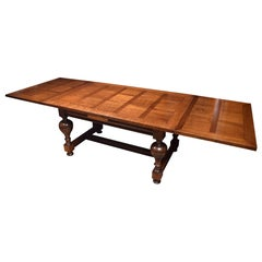 Very Large Oak Parquetry Top Draw-Leaf Refectory Table