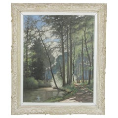 Very Large Oil on Canvas Landscape Painting in Montparnasse Frame, circa 1930s