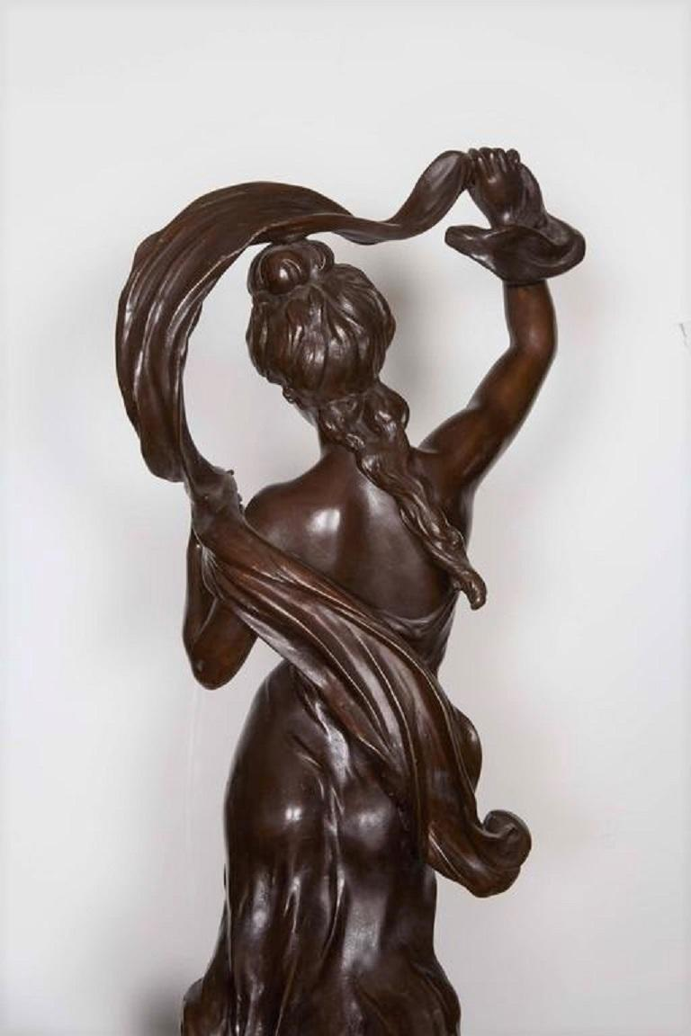 Very Large Original French 19th Century spelter Statue Signed Hippolyte Moreau For Sale 2
