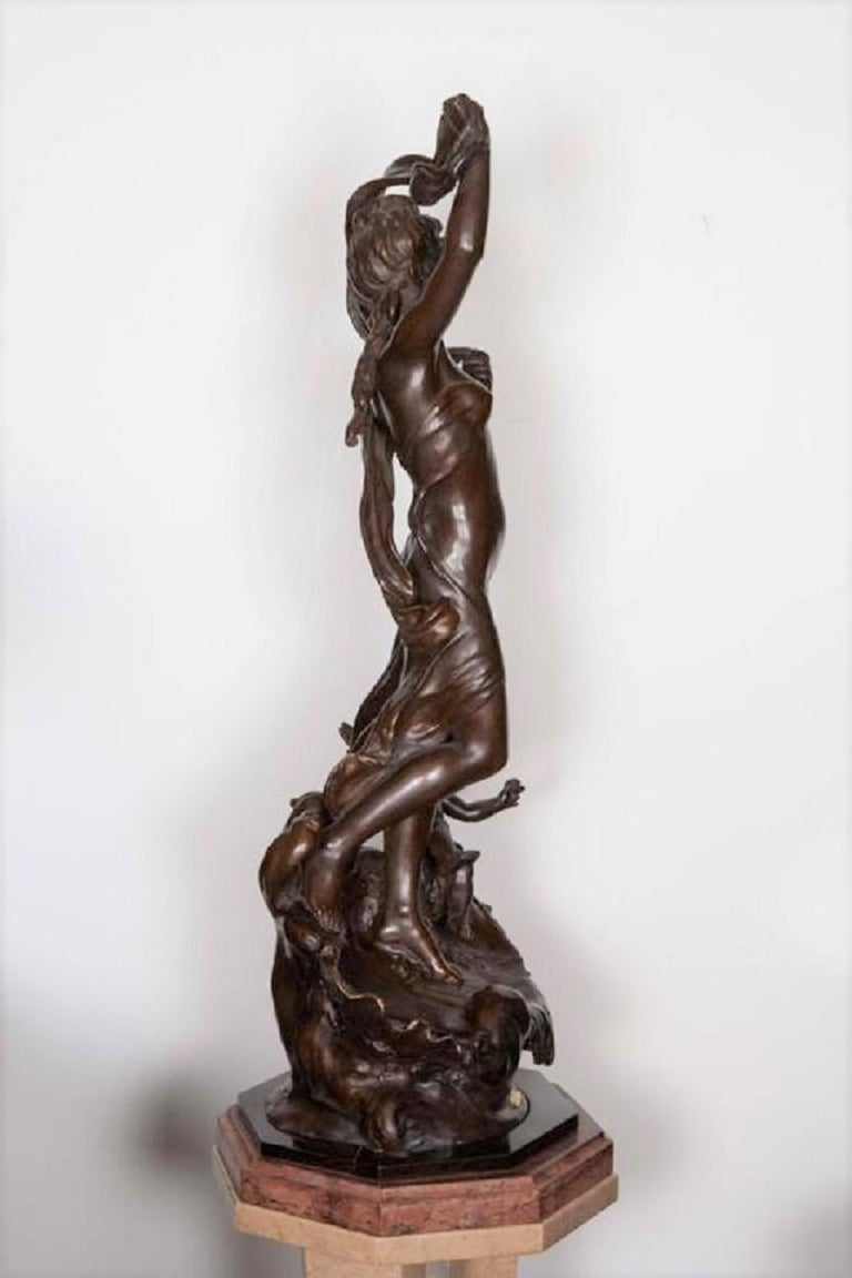 Very Large Original French 19th Century spelter Statue Signed Hippolyte Moreau For Sale 5