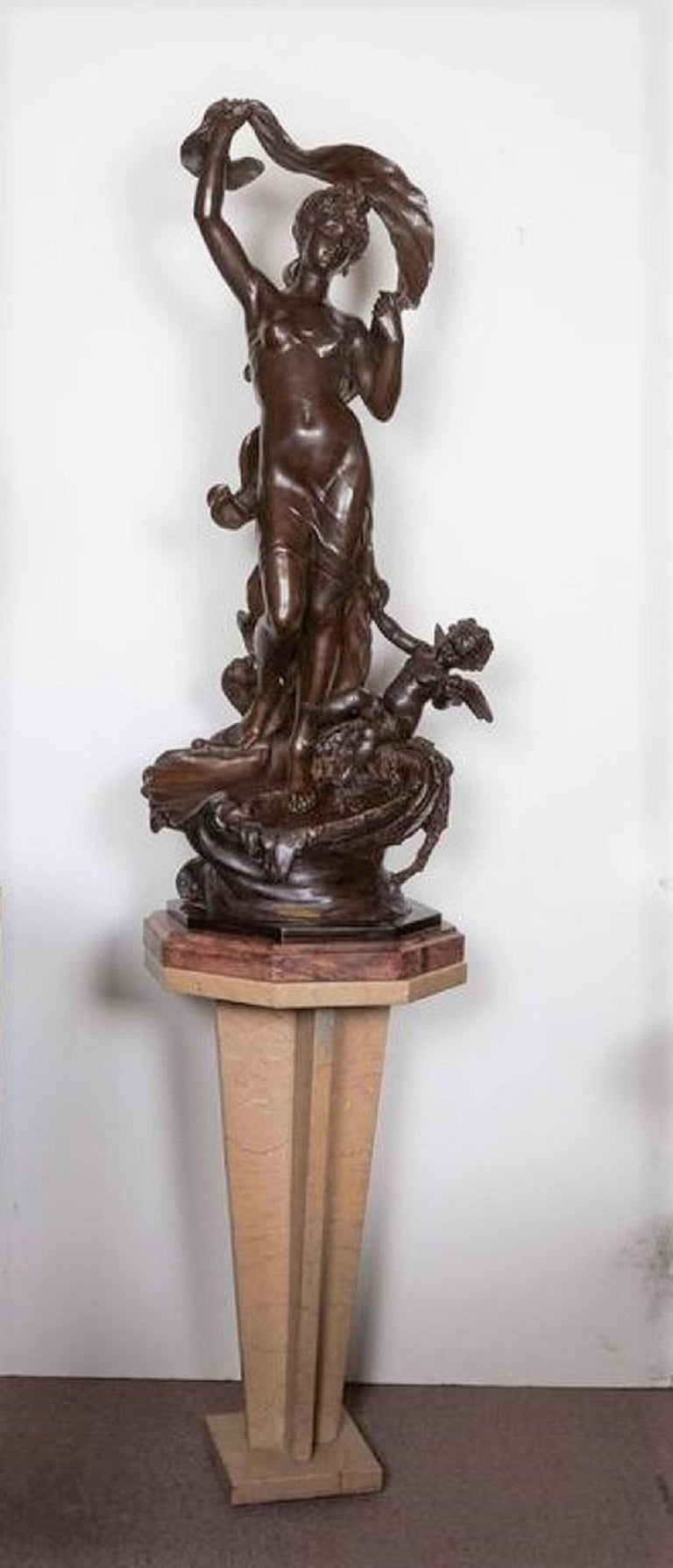 Beaux Arts Very Large Original French 19th Century spelter Statue Signed Hippolyte Moreau For Sale