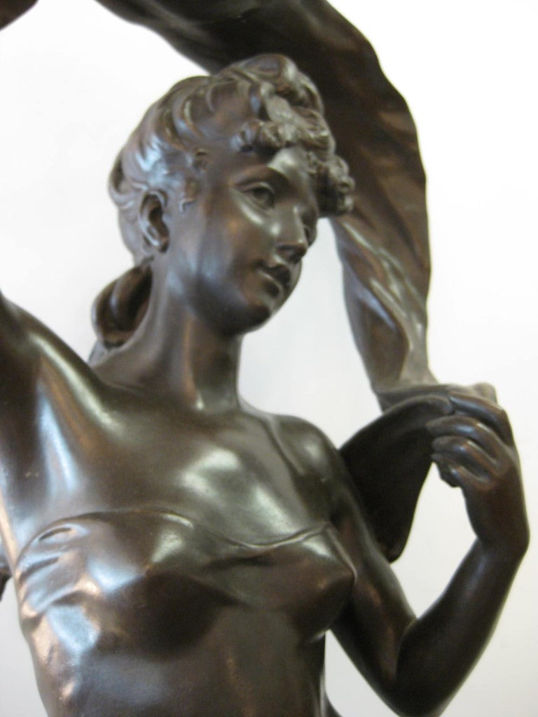 Cast Very Large Original French 19th Century spelter Statue Signed Hippolyte Moreau For Sale