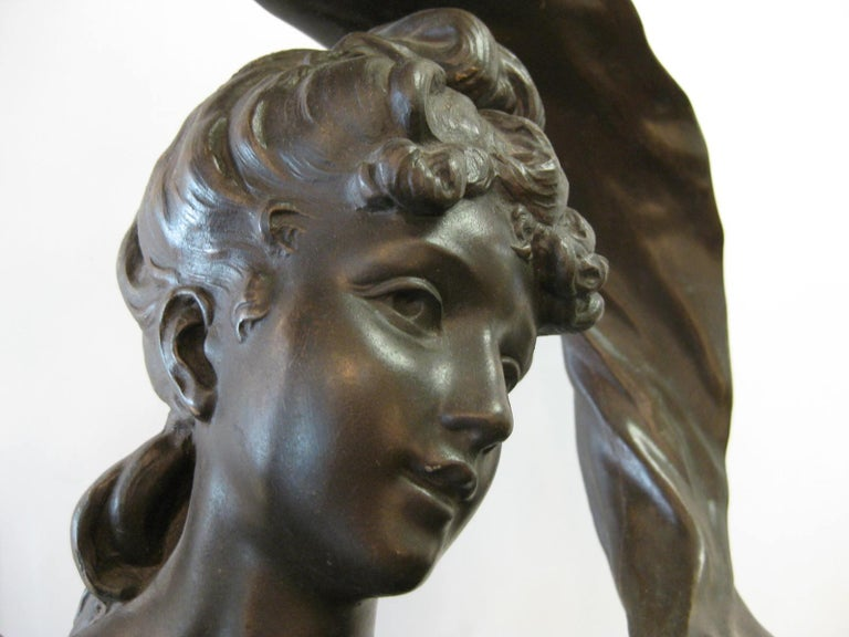 Very Large Original French 19th Century spelter Statue Signed Hippolyte Moreau In Good Condition For Sale In New York City, NY