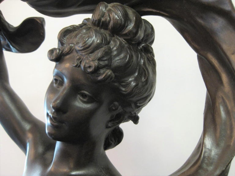 Spelter Very Large Original French 19th Century spelter Statue Signed Hippolyte Moreau For Sale