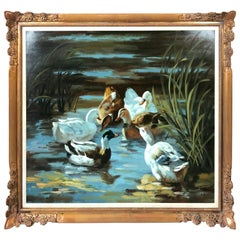 Very Large Original Oil on Canvas of Ducks in Pond