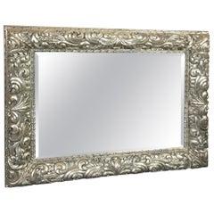 Very Large Ornately Carved Silver Leaf Horizontal Rectangular Mirror