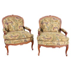 Very Large Oversized French Louis XV Style Lounge Open Armchairs