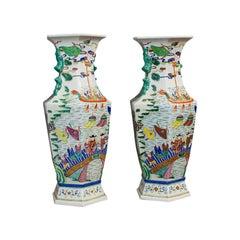 Very Large Pair, Antique Decorative Vases, Oriental, Ceramic, Urn, circa 1900