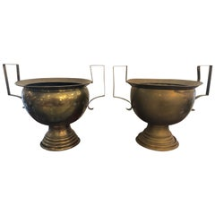 Very Large Pair of 19th Century French Brass Planters Urns or Centerpieces