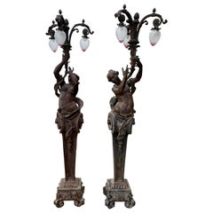 Very Large Pair of Bronze Torchère Figurative Lamps, circa 1920s