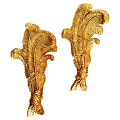 Very Large Pair of Maison Jansen Giltwood Feather Sconces