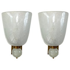 Very Large Pair of Murano Blown Pulegoso Oval-Shaped Wall Lights