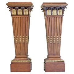 Very Large Pair of Neoclassical Style Ormolu Mounted Mahogany Pedestals