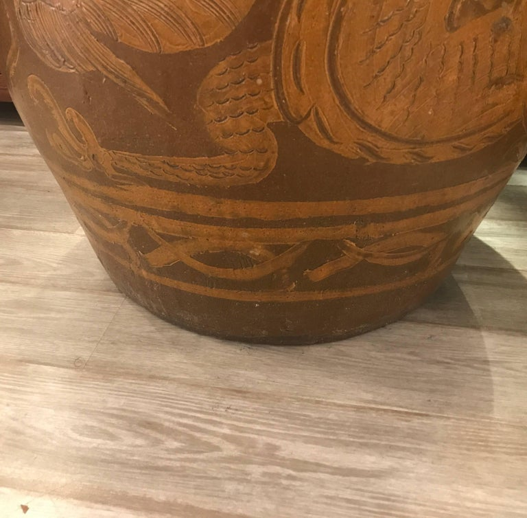 Pottery Very Large Pair of Thai Floor Urns