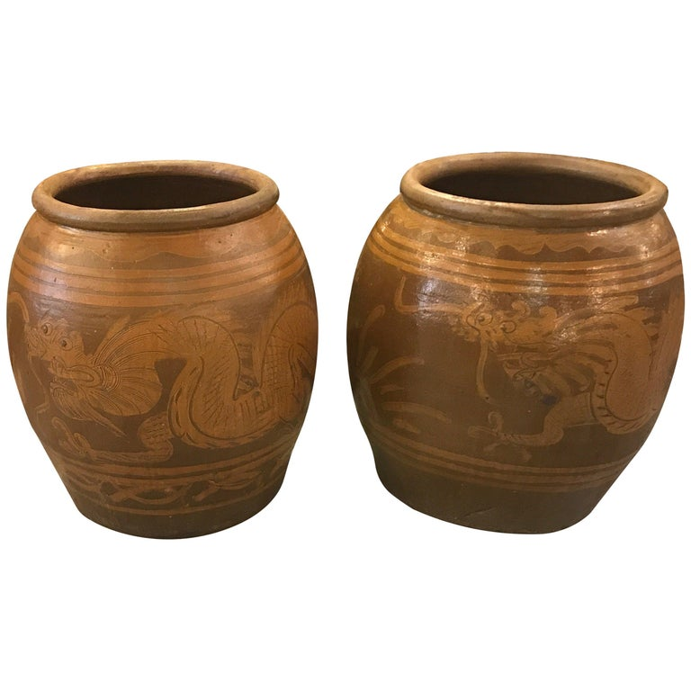 Very Large Pair of Thai Floor Urns For Sale