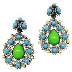 Very large paste, pearl, green and turquoise glass drop earrings, L. Vrba, 1980s