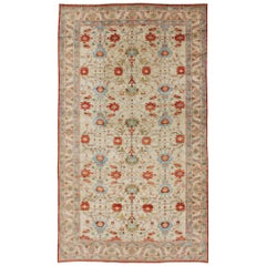 Very Large Persian Vintage Serapi Rug with All-Over Pattern in Ivory Background