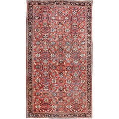 Very Large Persian Sultanabad Mahal Rug in Red, Brown, Green, Cream & Blue
