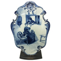 Very Large Plate by Dutch Delft Porceleyne Fles after C. Bisschop, 1892
