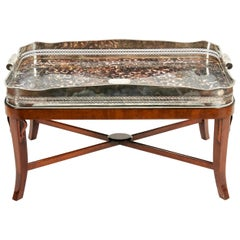 Very Large Plated High Border Tray Table / Tortoise Shell Interior