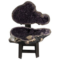 "Very Large Polished Amethyst ""Open Geode"" with Calcite Formation and Agate"