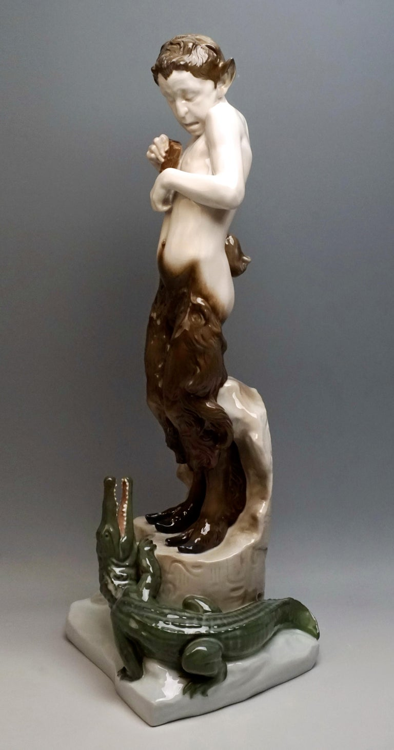 Art Nouveau Very Large Porcelain Figure Faun with Crocodile Rosenthal Selb, Germany For Sale