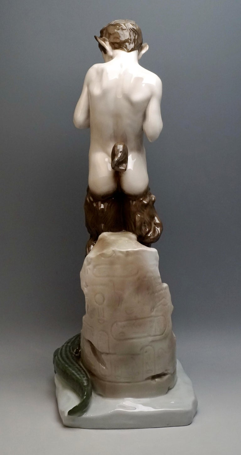 Hand-Painted Very Large Porcelain Figure Faun with Crocodile Rosenthal Selb, Germany For Sale