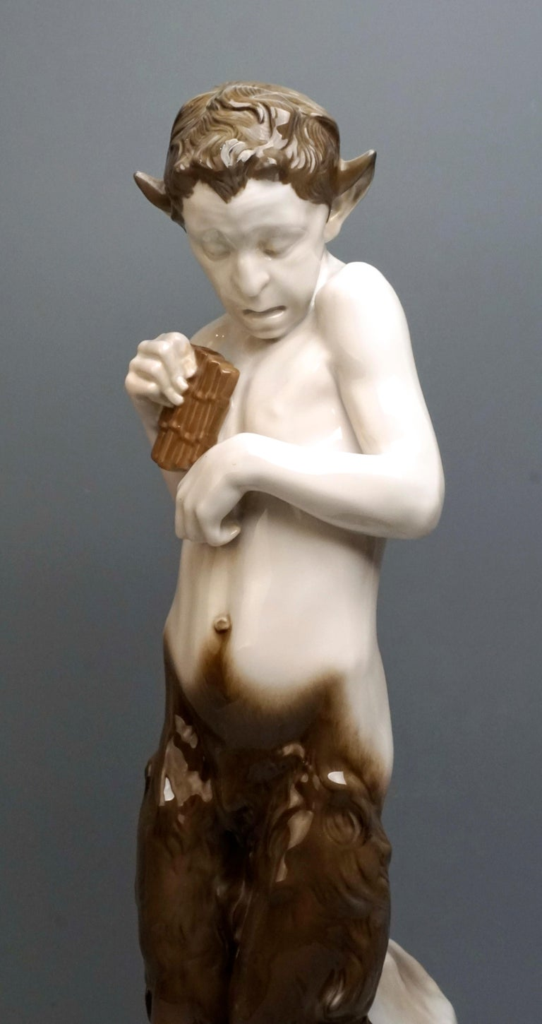 Early 20th Century Very Large Porcelain Figure Faun with Crocodile Rosenthal Selb, Germany For Sale