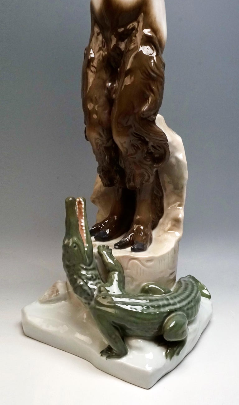 Very Large Porcelain Figure Faun with Crocodile Rosenthal Selb, Germany For Sale 1